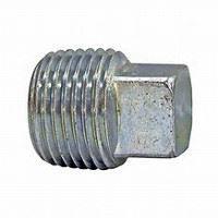 ¾ inch NPT galvanized malleable iron square head plug