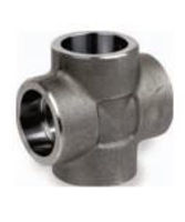 Picture of ¾ inch forged carbon steel socket weld cross
