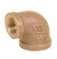 Picture of 3/4 X 3/8 inch NPT Threaded Bronze 90 degree reducing elbow