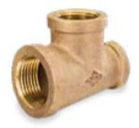 Picture of 1 x 1 x 1/4 inch NPT threaded bronze reducing tee