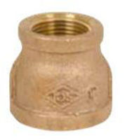 Picture of 3/4 x 3/8  inch NPT threaded bronze reducing coupling