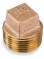 Picture of 1-1/4 inch NPT threaded lead free bronze square head hollow core plug