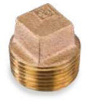Picture of ⅜ inch NPT threaded lead free bronze square head solid plug